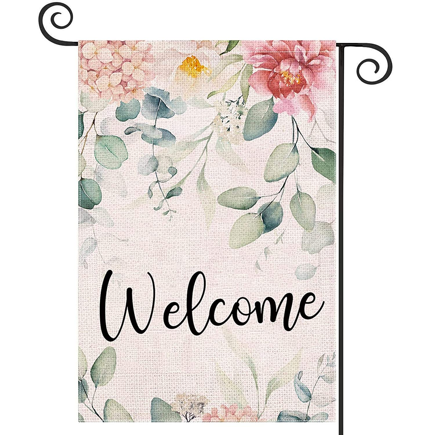 EKOREST Welcome Summer Floral Garden Flags for Outside,12 x 18 Inch Vertical Double Sided,Watercolor Flower Yard Flag for all Seasons,Small Farmhouse Flag for Spring Summer Holiday Outdoor Lawn Decor