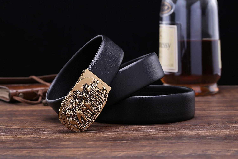 Men/'s Belt Ratchet Dress Reversible Wolf Buckle Fashion Designer Belt