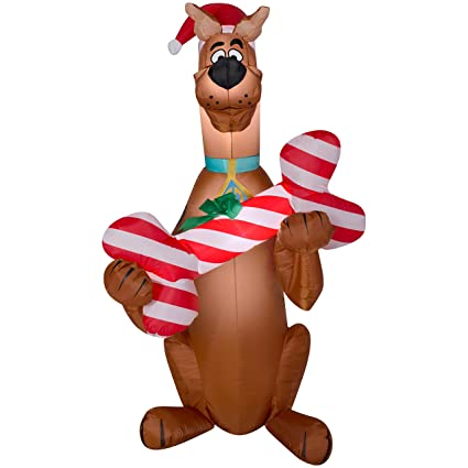 Scooby Doo Christmas.Christmas Inflatable 5 Scooby Doo In Santa Hat Holding Candy Cane Bone Airblown By Gemmy 1