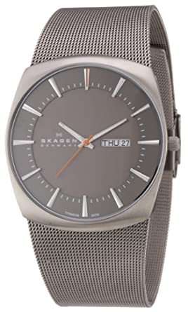 Skagen Mens Quartz Titanium and Stainless Steel Casual Watch, Color:Silver-Toned (