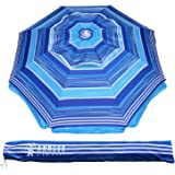 AMMSUN 2m Outdoor Patio Beach Umbrella Sun Shelter with Tilt Air Vent Carry Bag Multicolor Blue