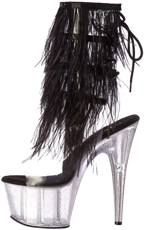 Pleaser Women's Ado1017mff/c-b/c Ankle Bootie B01N1I5MBC 8 B(M) US Clr-blk Marabou/Clr-gltr