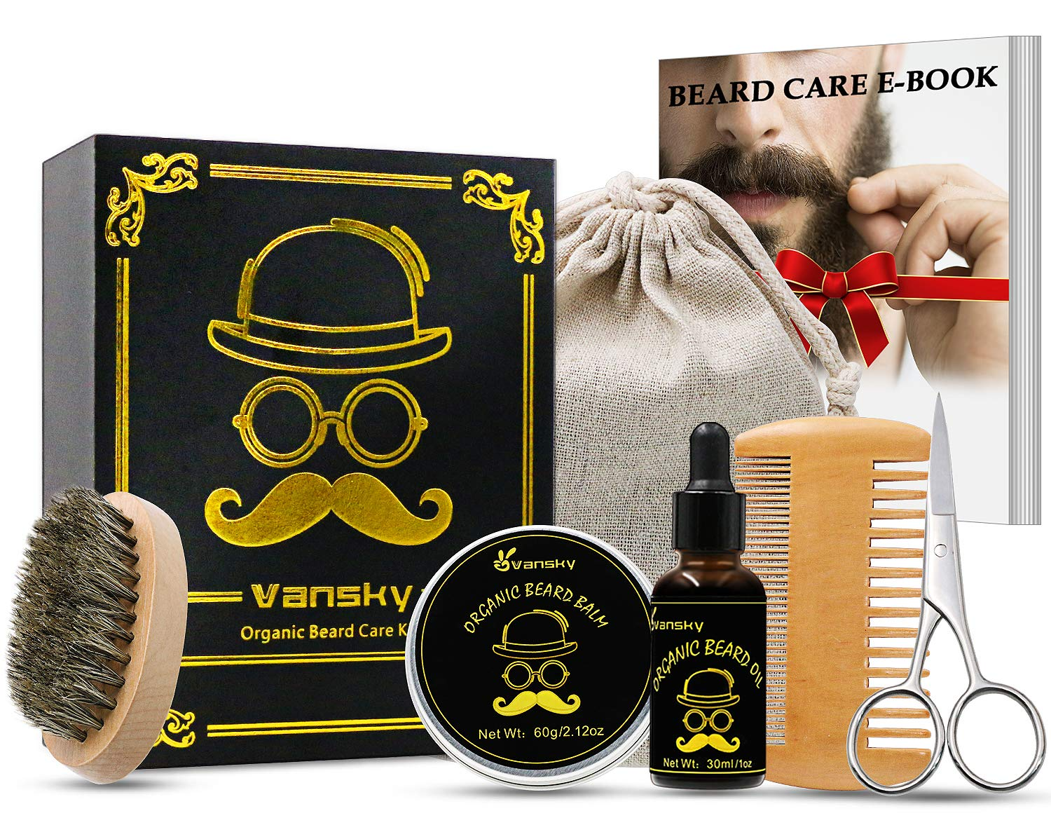 [Best Deal] Beard Grooming Kit Beard Growth Kit,Beard Care Kit Including Beard Oil,Beard Balm,Mustache Brush,Beard Scissors,Beard Comb-Best Men's Gift