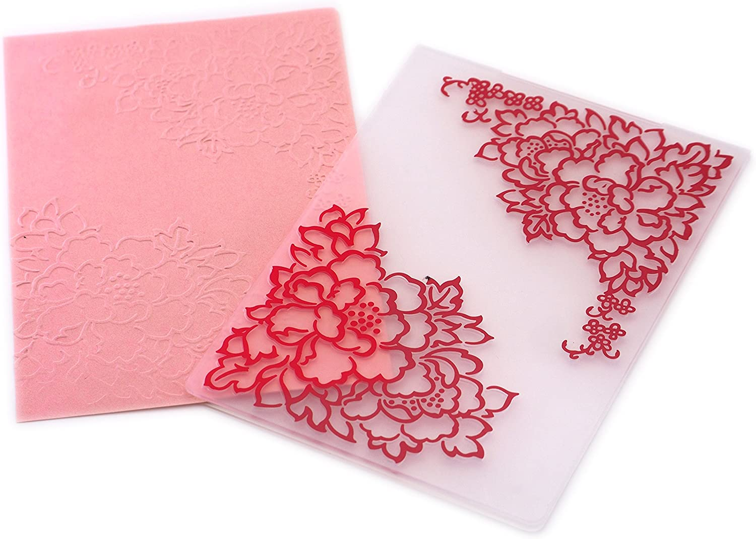 Red Hearts Creationtop Lines Plastic Embossing Folder for DIY Scrapbooking Card Making Supplies Embossing