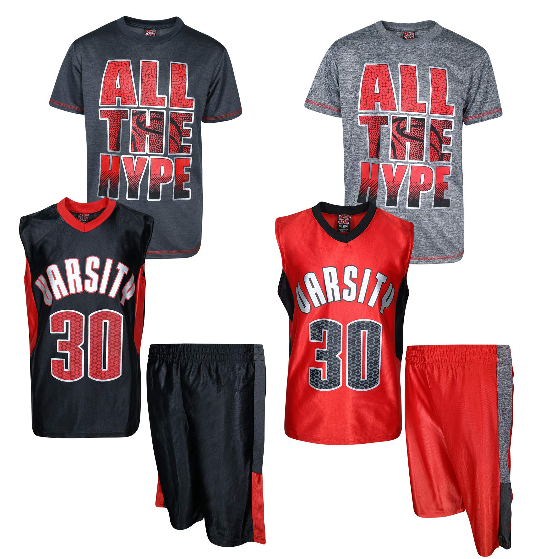 Mad Game Boys' 6-Piece Performance Basketball Shirt and Short Set (2 Full Sets), All The Hype, Size 8/10'