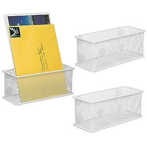 MyGift White Mesh Magnetic Storage Baskets, Office Supply Organizer, Set of 3