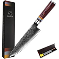 [8 Inch]Chef Knife,FANTECK Kitchen Knife VG10 Damascus Professional Sharp High Carbon Stainless Steel 67-Layer Meat Sushi Fruit Cutting Gyuto Chef Knife[Gift Box]Ergonomic Pakkawood Handle-Acrylic Rim