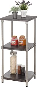 Home Zone Bookcase Storage Rack with 3-Tier Narrow Shelving Unit   Steel and Wood with Satin Nickel Finish
