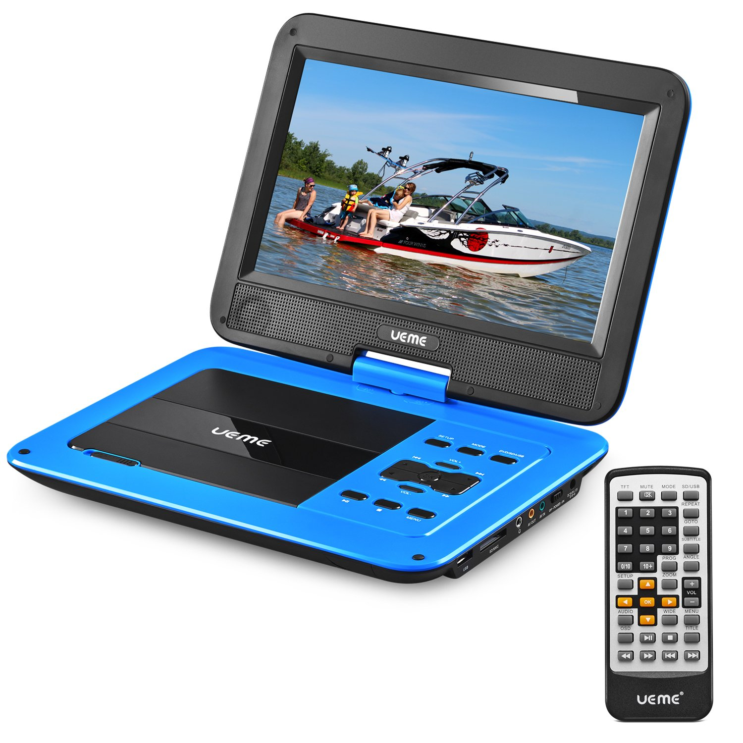 UEME Portable DVD CD Player with 10.1 Inches Swivel Screen, HD TFT LCD, Car Headrest Mount Holder, Remote Control, Personal DVD Player with Built-in Rechargeable Battery (Blue)