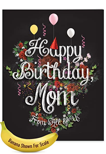 J6479BMG US Jumbo Birthday Mother Card Chalk And Roses