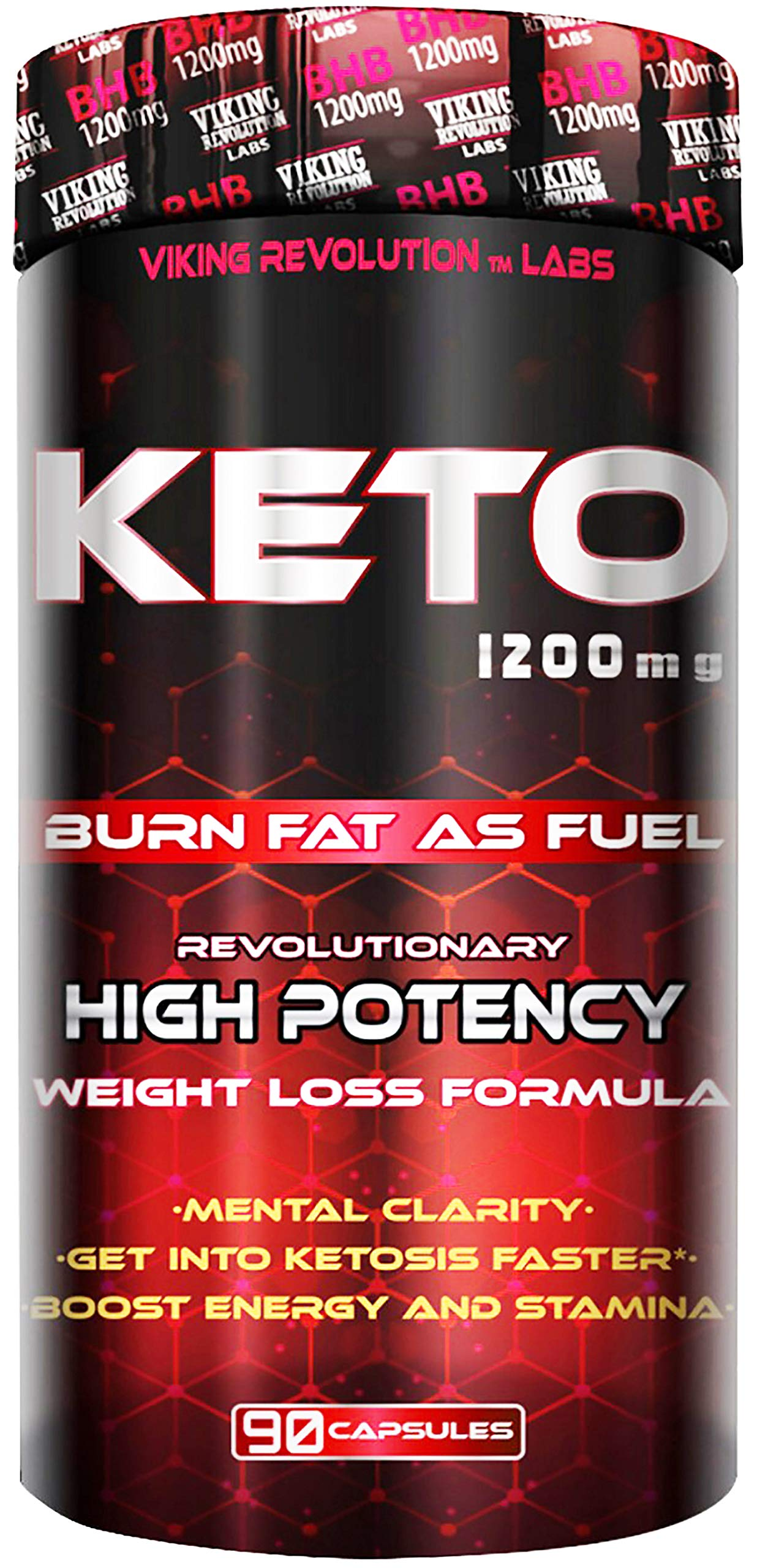 Keto Diet Pills - Weight Loss, Fat Burner Supplement - 1200mg Beta-Hydroxybutyrate, Exogenous Ketones - Formulated to Enter Ketosis, Burn Fat, Enhance Mental Focus & Clarity (90 Capsules) by Viking Revolution