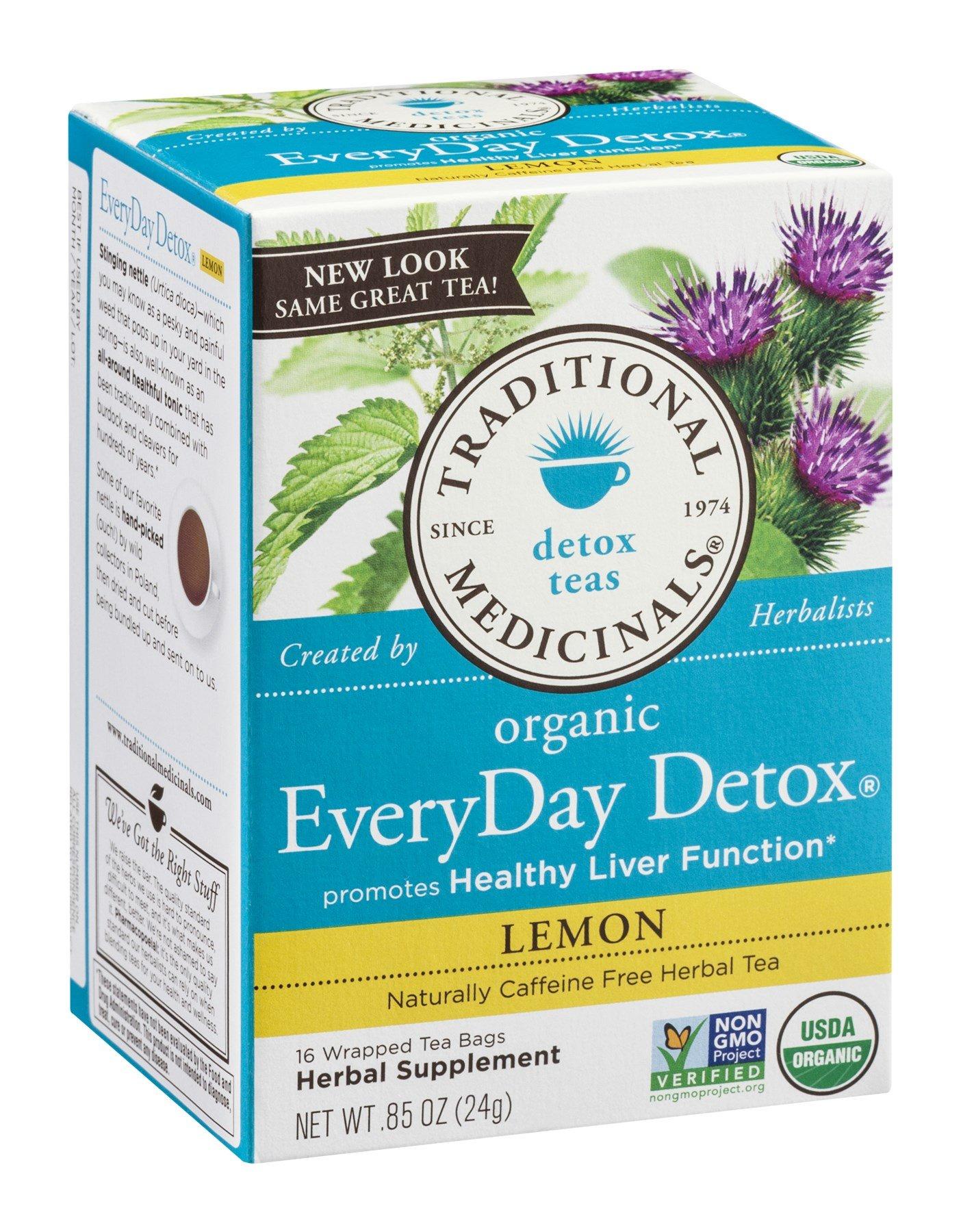 Tea, Everyday, Organic, Detox Lmn, 16 bag (24 Box, Bulk Multi-pack) by Traditional Medicine
