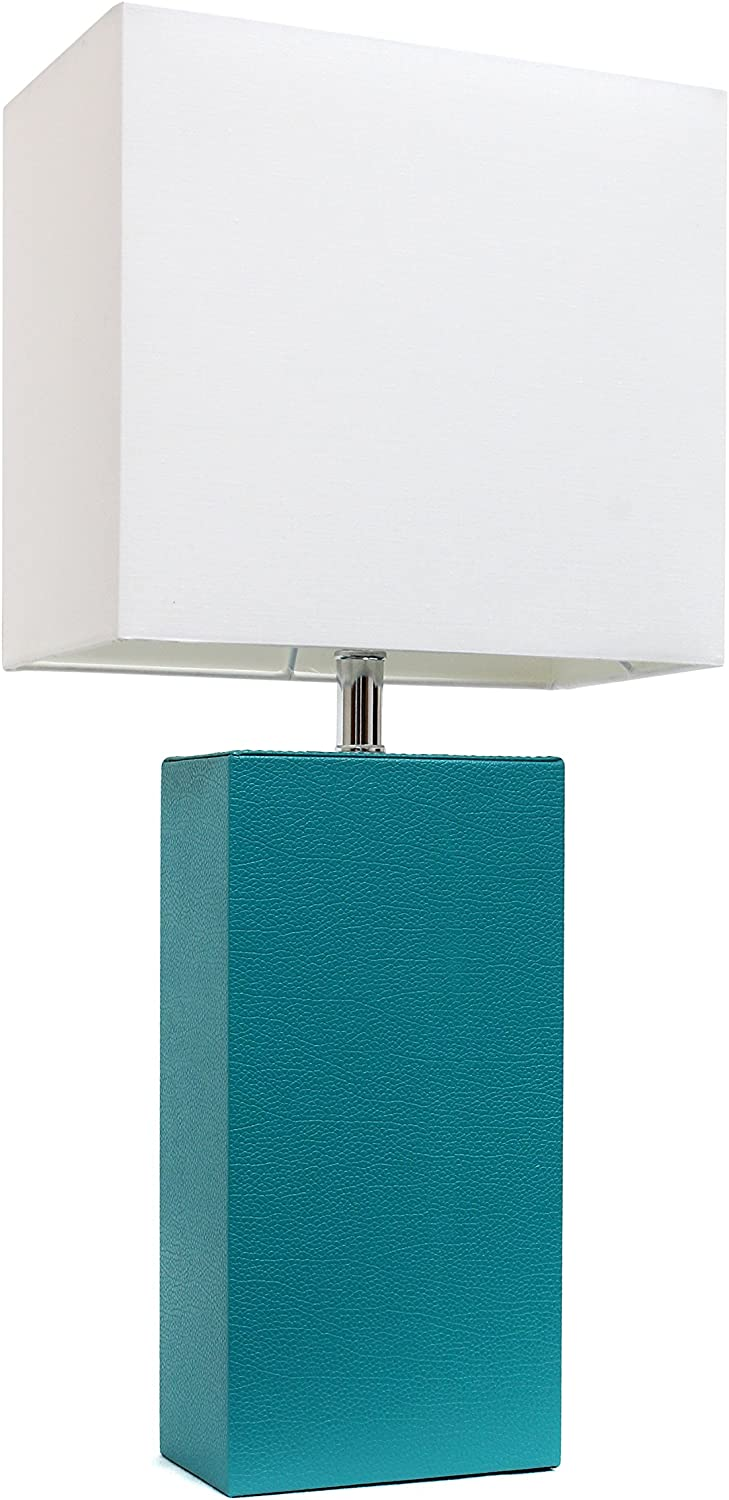 "Elegant Designs LT1025-TEL Modern Leather White Fabric Shade Table Lamp, 3.85"", Teal"