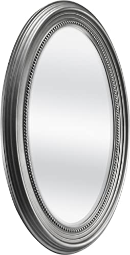 MCS Beaded Oval Wall Mirror, 21 x 31 Inch, Silver
