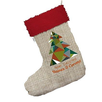 Personalizado geométrica Árbol grande de arpillera de Navidad calcetines de medias con ribete de color rojo