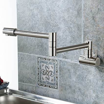 Aquafaucet Wall Mounted Pot Filler Kitchen Faucet With Double Joint
