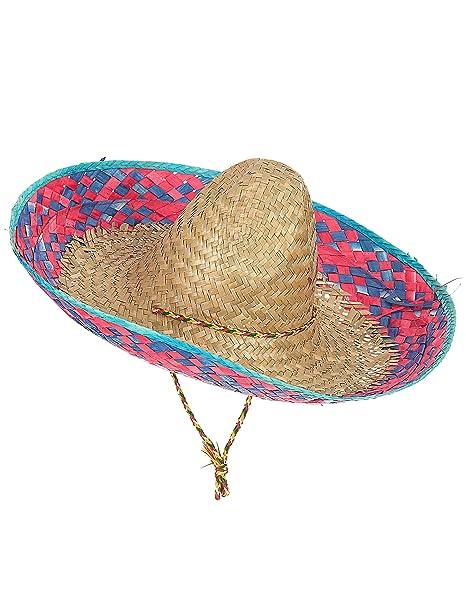 abe10b0dafb2e Sombrero mexicano contorno rosa y azul adulto  Amazon.es  Juguetes y ...