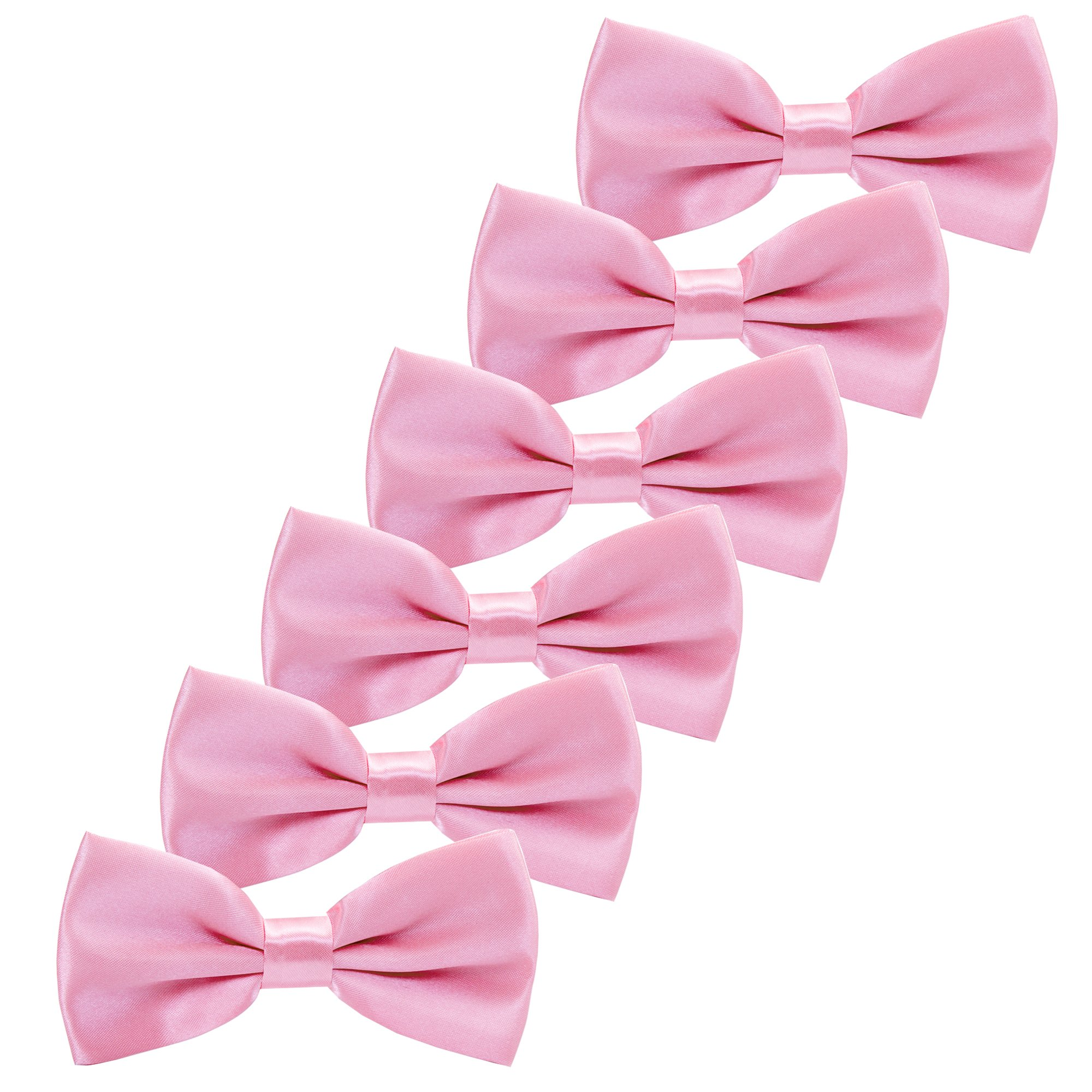 Boys Children Formal Bow Ties - 6 Pack of Solid Color Adjustable Pre Tied Bowties for Wedding Party (Pink)
