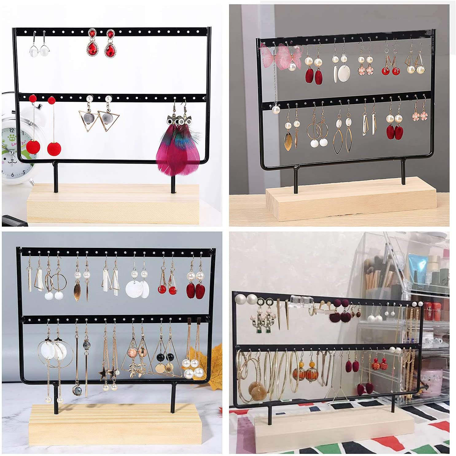 Mocolo Earring Organizer Stand 44 Holes /& 2 Layers Earring Holder for Hanging Earrings Earring Display Stand Silver