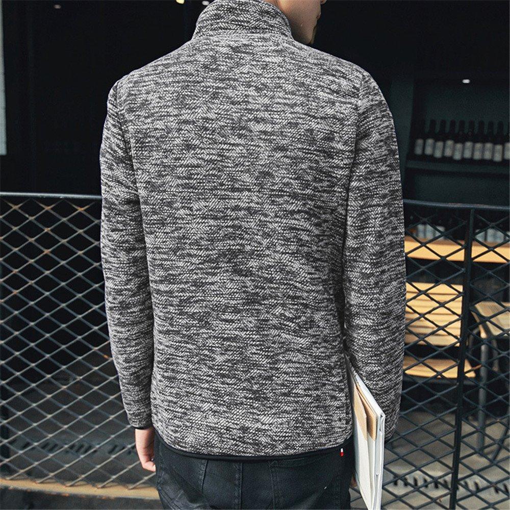 ndsoo Coreano Jersey de Invierno Cuello Cremallera Cardigan Chaqueta Slim Modelos Sueter Manga Larga Jersey,Black,3XL