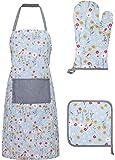 Basic Cotton Kitchen Apron with Pockets Glove and Potholder Set,Floral - Blue