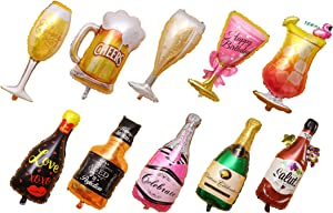 10 PCS Jumbo Balloon Include Beer| Wine| Red wine| Whiskey| Champagne| Princess Cup| Flamingo Cup| Champagne| Regular Cup| Big Beer Mug For Party Decoration