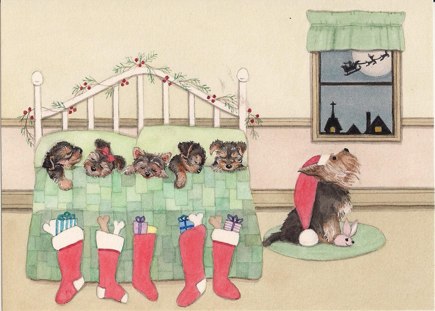 Amazon.com: Christmas cards: Yorkshire terrier (yorkie) family all ...