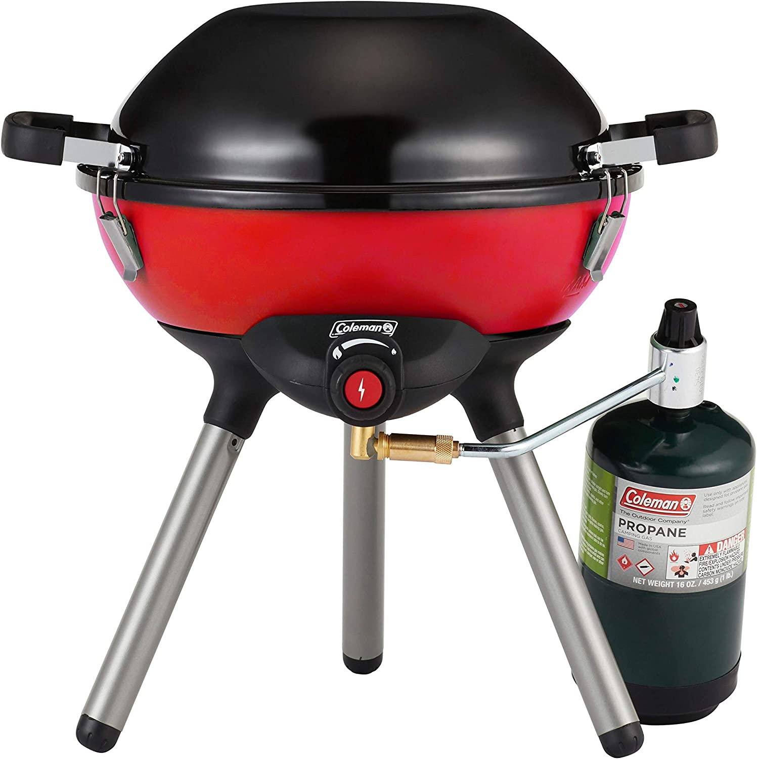 Coleman Gas Camping Stove | 4 in 1 Portable Propane Cooking System, Red