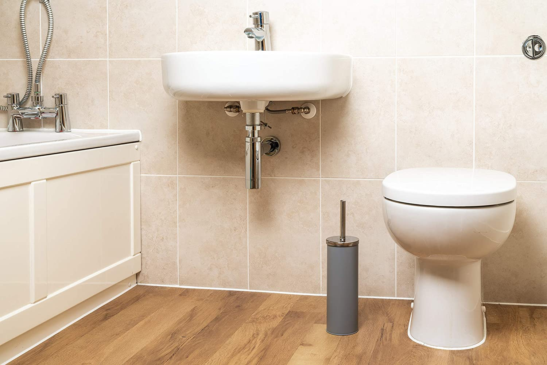 Epistar Toilet Brush Set Matte Finish Holder Stainless Steel Handle Grey Stylish Modern Design