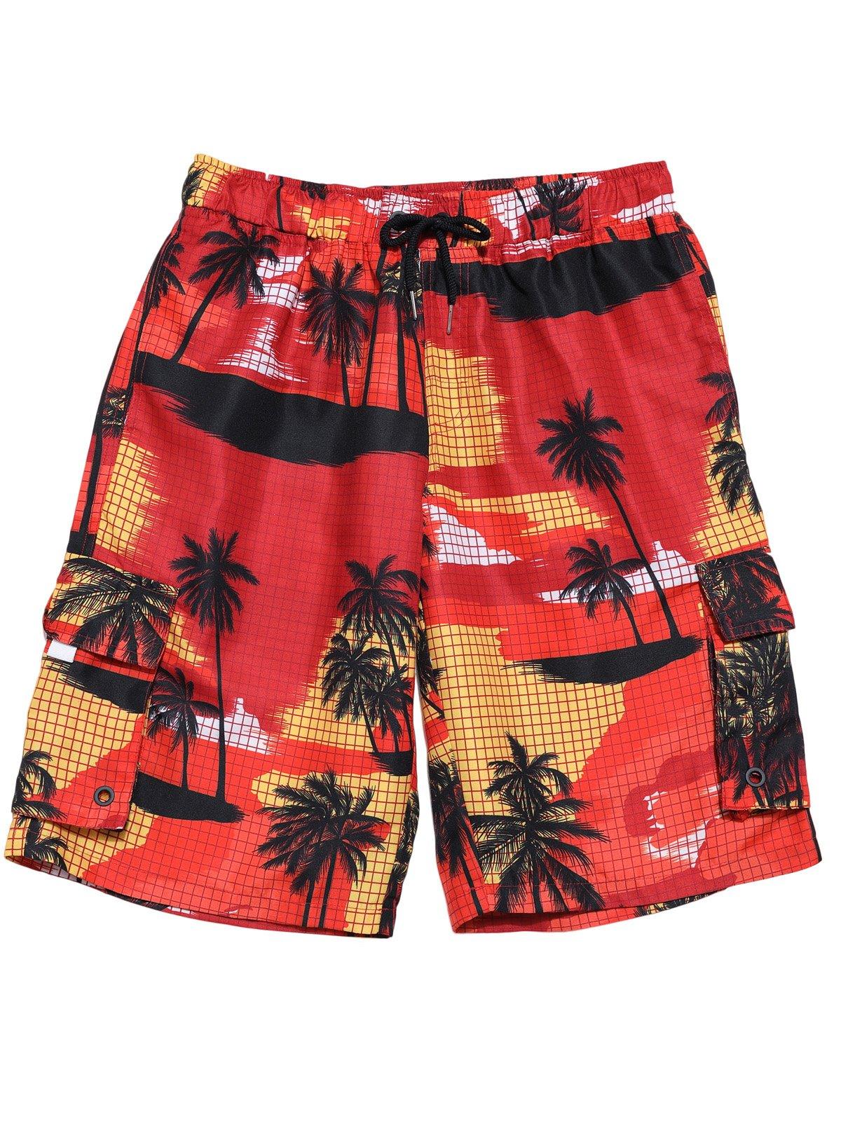 Hopioneer Men's Tropical Printed Shorts Beach Wear Surfing Swim Trunks - XL