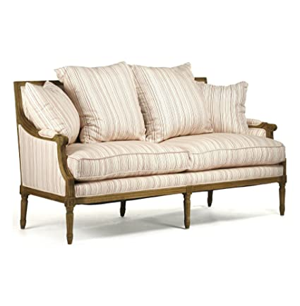 Kathy Kuo Home St. Germain French Country Red Stripe Louis XVI Natural  Linen Sofa