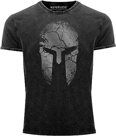 Neverless® Camiseta vintage para hombre con estampado de casco de Sparta Warrior, corte ajustado.