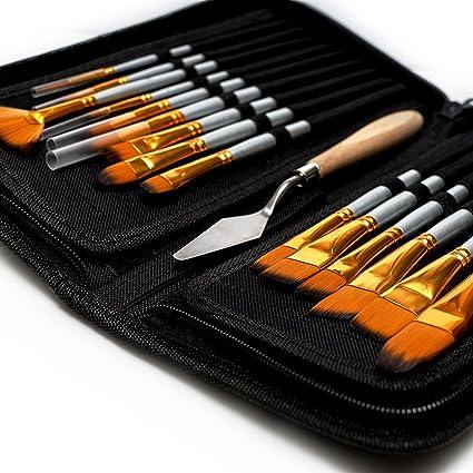 Beito Artist - Juego de Pinceles de Pintura (15 Tamaños Diferentes, para Pintar con