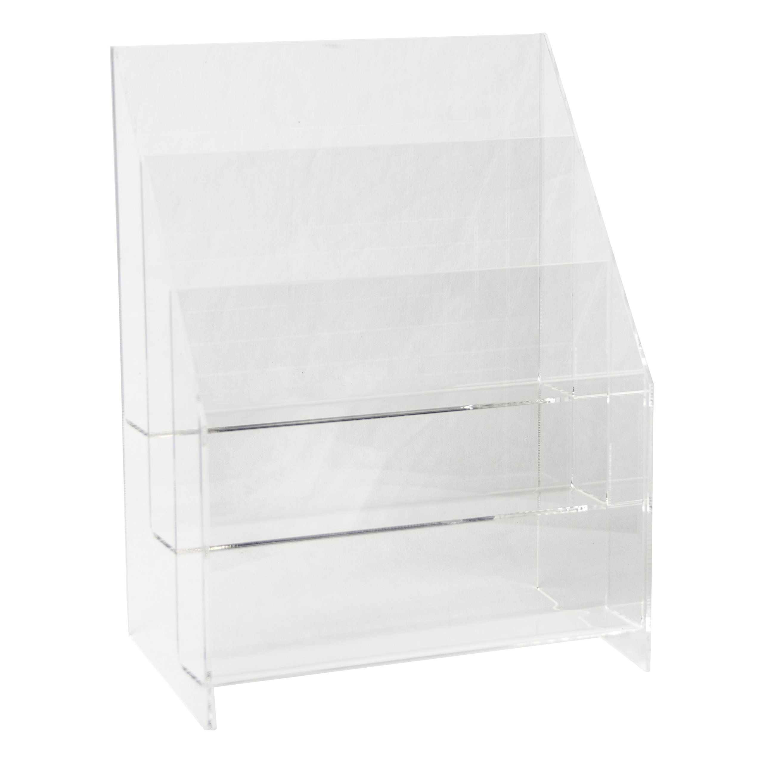 Clear-Ad - MPF-8511-3 - Premium Acrylic 3 Pocket Brochure Holder 8.5x11 - Transparent Plastic Pamphlet Display Stand (Pack of 1)