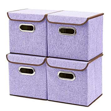 4 Packs Cube Storage Bins Organizer Bin Containers Cubes Foldable Cloth Storage