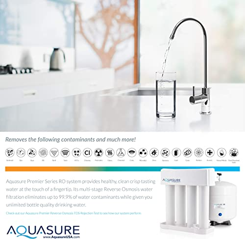 Aquasure AS-PR75A Premier Reverse Osmosis Water Filtration System – 75 GPD High Contaminants TDS Rejection Membrane with Quick Change Water Filter and Chrome Colored Finished Faucet