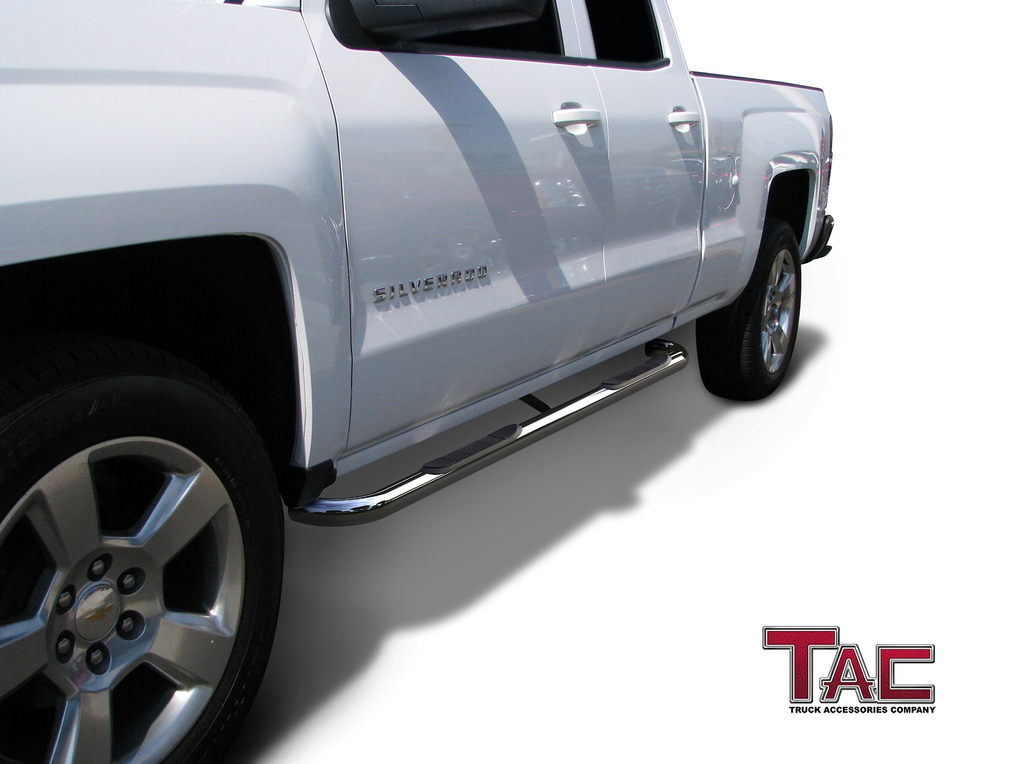 TAC Side Steps Fit Chevy Silverado/GMC Sierra 1999-2018 1500 & 1999-2019 2500/3500 Extended/Double Cab (Excl. C/K Classic) 3'' Stainless Steel Side Bars Nerf Bars Step Rails Running Boards 2 Pieces by TAC TRUCK ACCESSORIES COMPANY (Image #2)