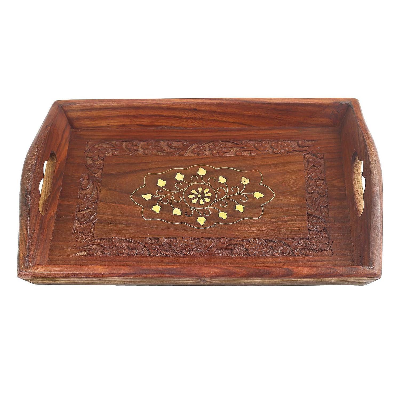 Fine Craft India hecha a mano decorativa 12 pulgadas de madera bandeja para servir bandejas de servicio para cocina y mesa de comedor mesa ideal para ...
