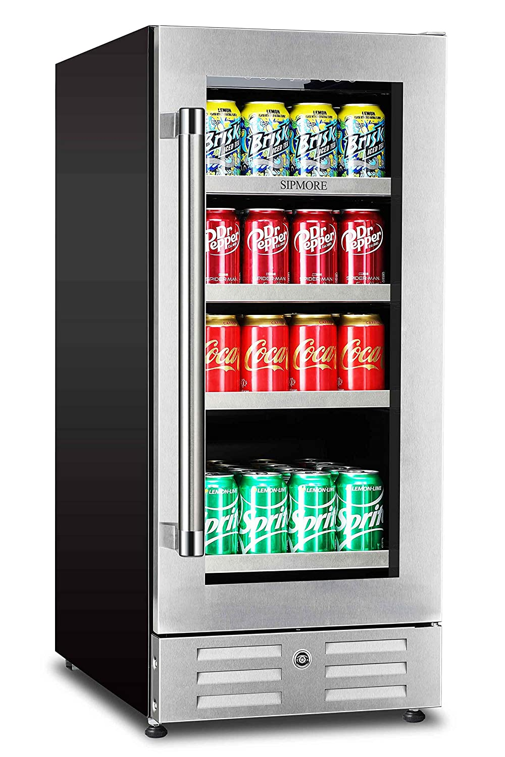Sipmore Beverage Refrigerator and Cooler – Fit Perfectly into 15 inch Space – Stainless Steel Shelf 88 Can Built-in with Glass Door for Soda Beer, Powerful Drink Machine with Smart Control System