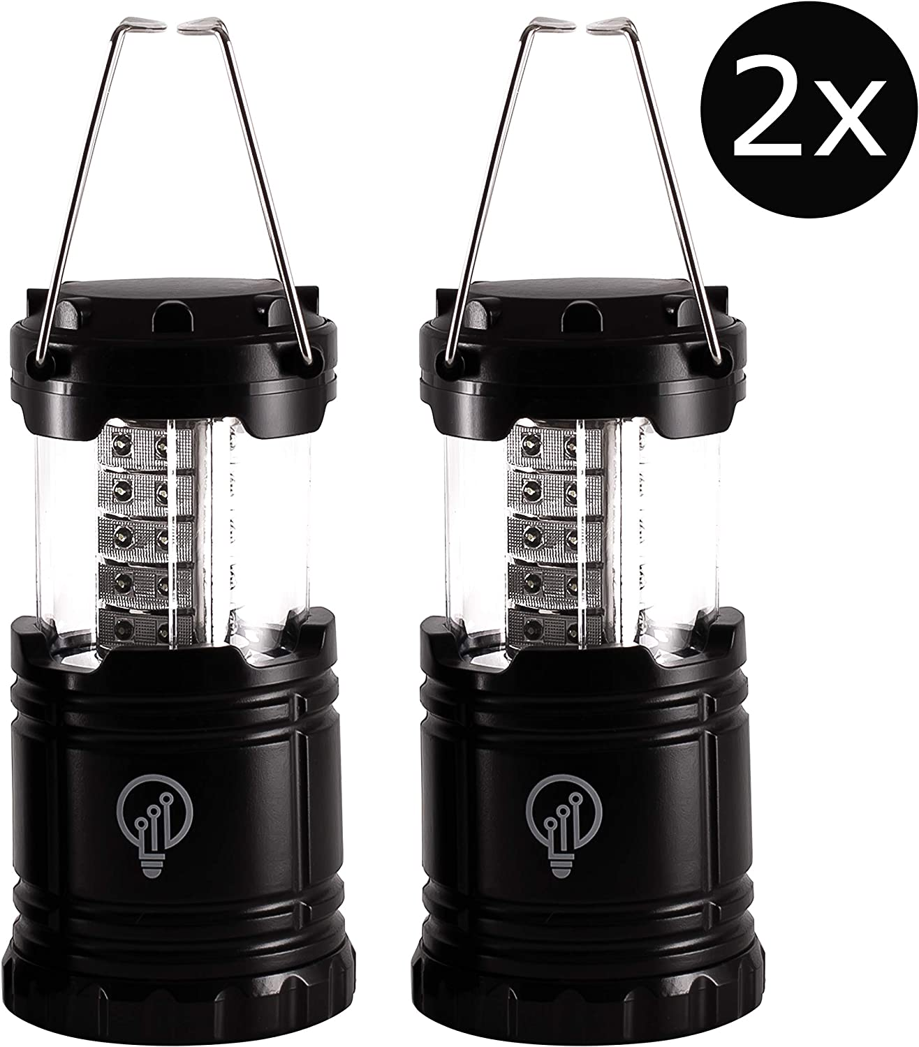 LED Lantern Emergency Camping Survival Lamp Hurricane Power Outage Lights Storm Battery Operated Indoor Outdoor Flashlight 300 Lumen Military Grade Set of 2