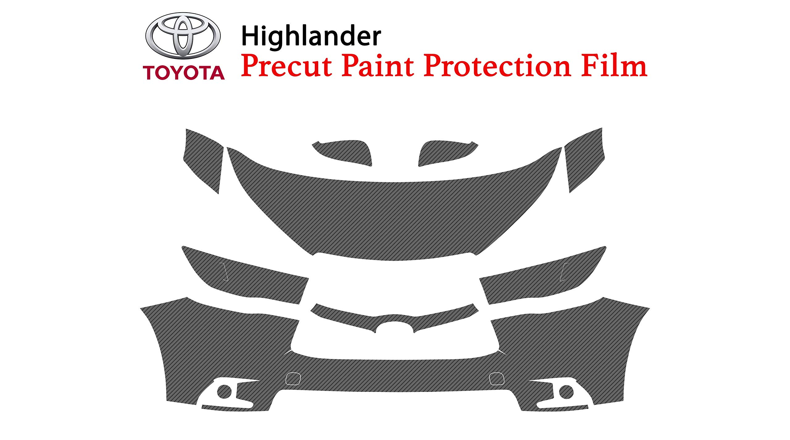 The Online Liquidator Precut Clear Bra Paint Protection Film Kit fits Toyota Highlander 2014-2019 - Full Front Vinyl Wrap Surface Safeguard Armor Cover