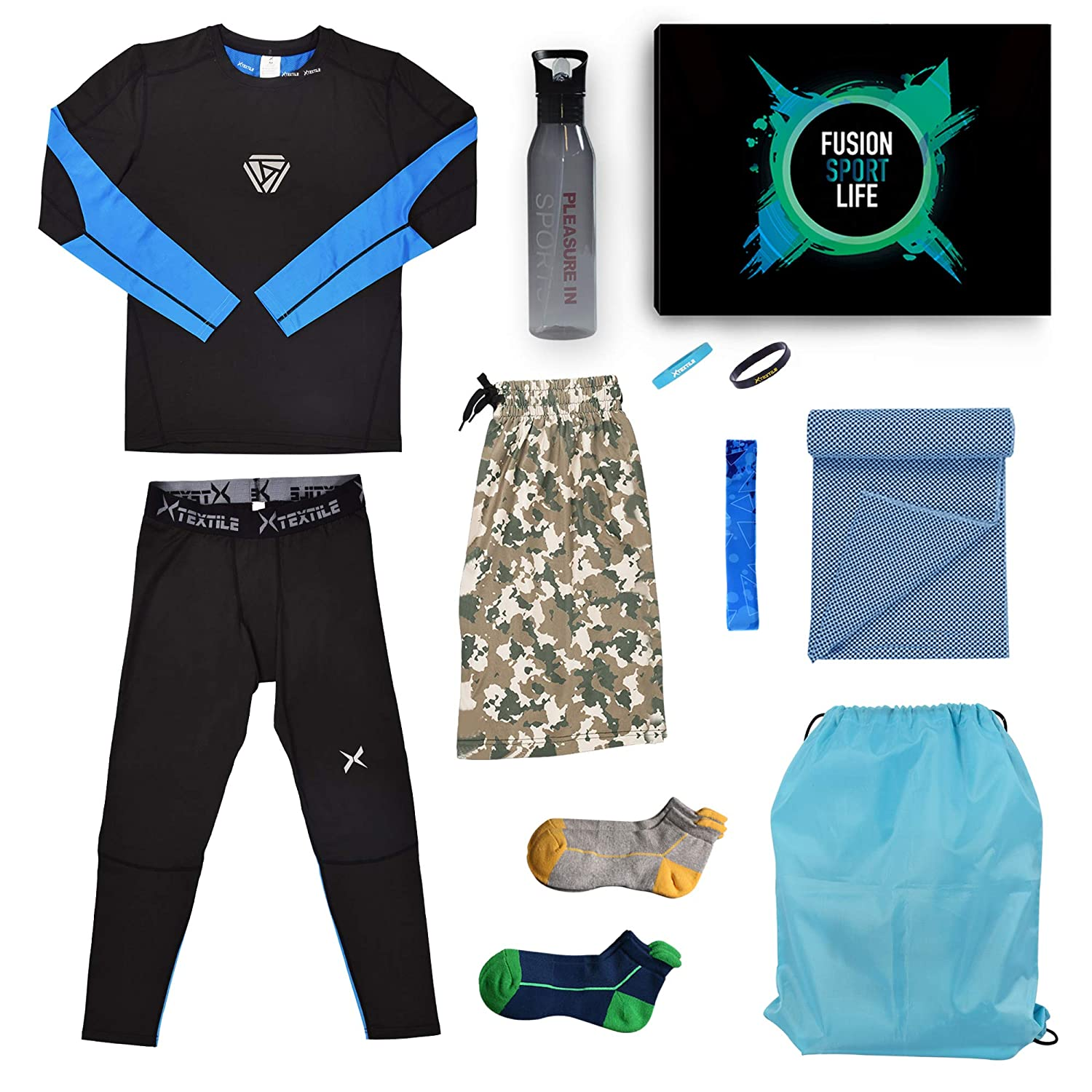 Long Sleeve Shirts and Loose Fitting Shorts Xtextile 3 Pcs Mens Workout Set with Compression Pants