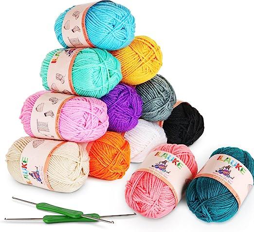 ilauke Ovillos de Lanas de Hilo Acrílicos para Amigurumi-Kit (50g X 12 Colores): Amazon.es: Hogar