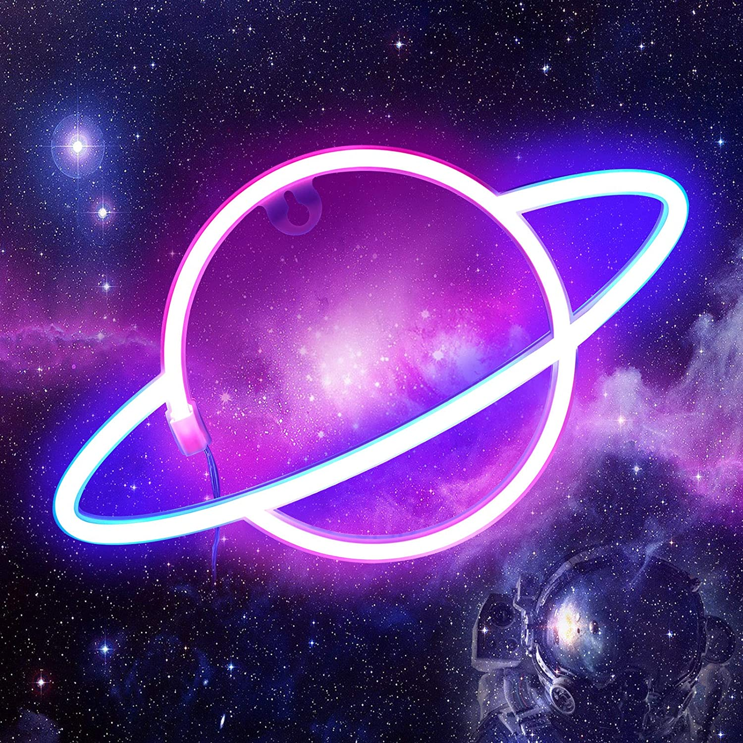 Planet Neon Light Signs - ORHOMELIFE Pink/Blue LED Neon Sign Wall Decor Neon Lamp Battery/USB Operated Planet Night Lights Signs for Bedroom, Kids Room, Christmas, Wedding, Birthday Party Decor