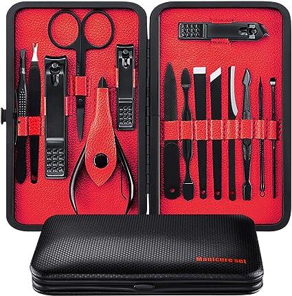 Manicura Set - 15 en 1 manicure kit acero inoxidable manicura y pedicura para mujeres y hombres profesional nail Clipper Scissors Grooming Kit con cue