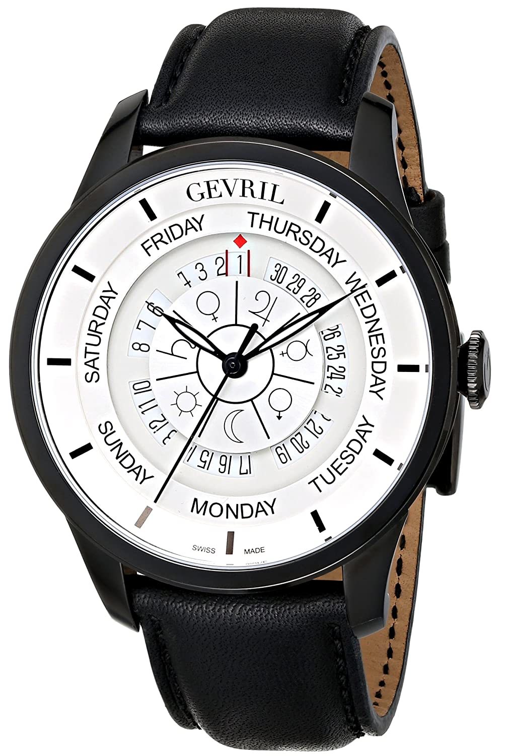 Gevril Columbus Circle Mens Swiss Automatic Black Leather Strap Watch, Model 2005