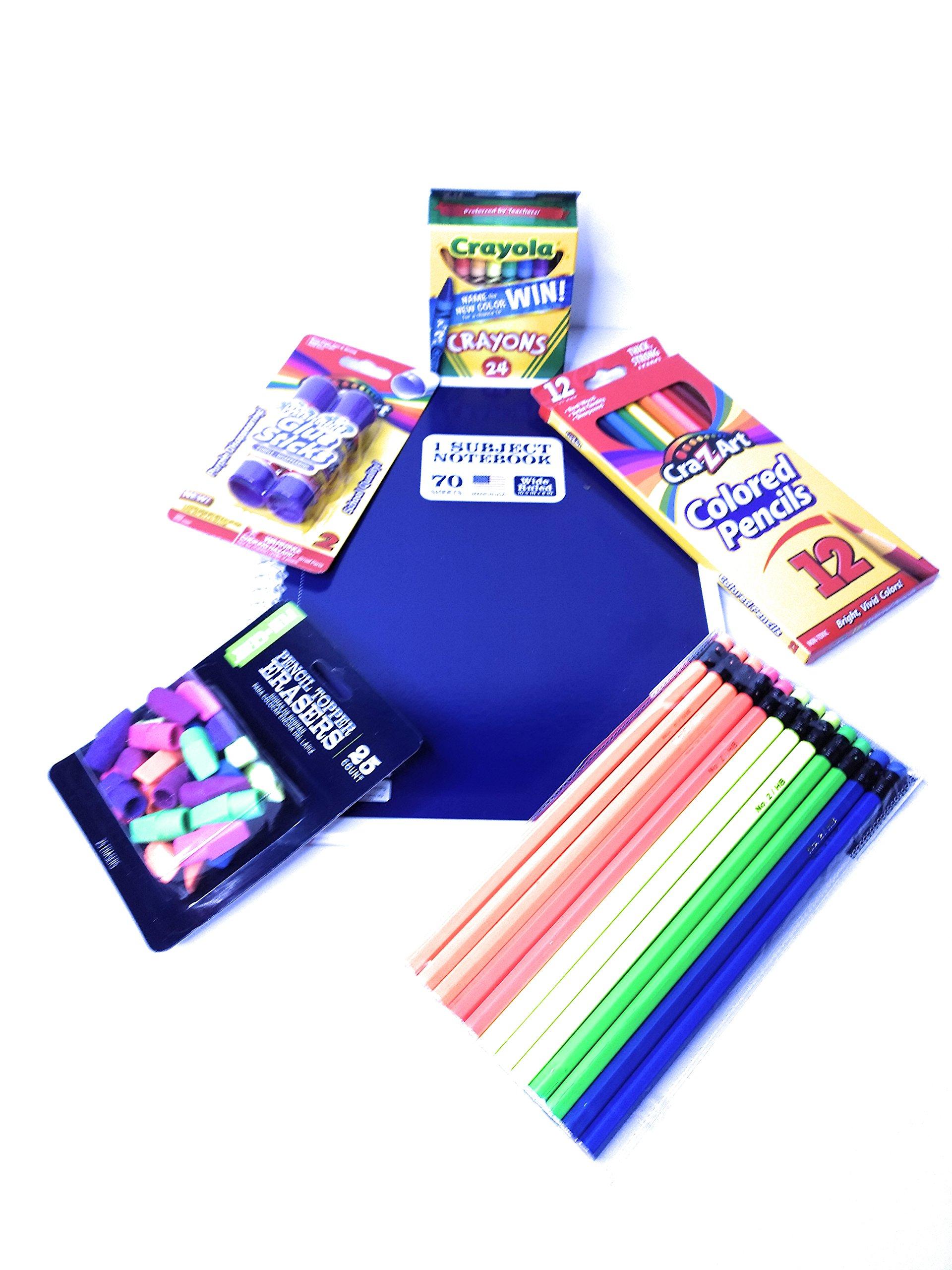 School Supplies Kit K-5 Back to School Bundle of 6 Includes; Crayons, erasers, Pencils, Glue, Notebook,Colored Pencils