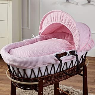 FYLO Pink Waffle Brown Wicker Moses Basket