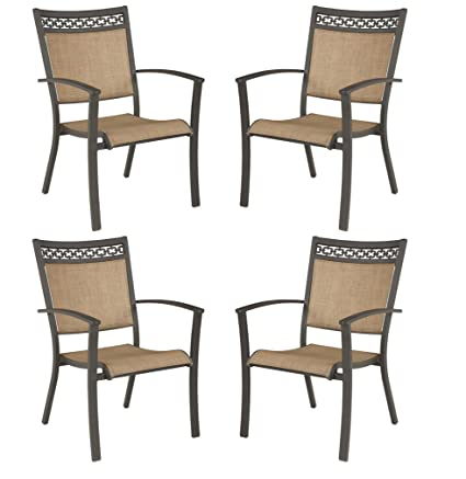 Incredible Signature Design By Ashley Carmadelia Outdoor Sling Dining Chairs Set Of 4 Tan Brown Pabps2019 Chair Design Images Pabps2019Com