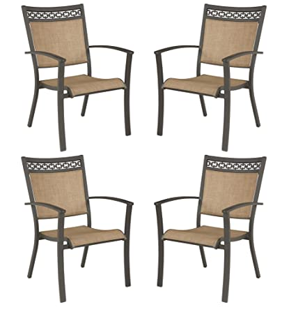 Signature Design by Ashley – Carmadelia Outdoor Sling Dining Chairs – Set of 4 – Tan Brown